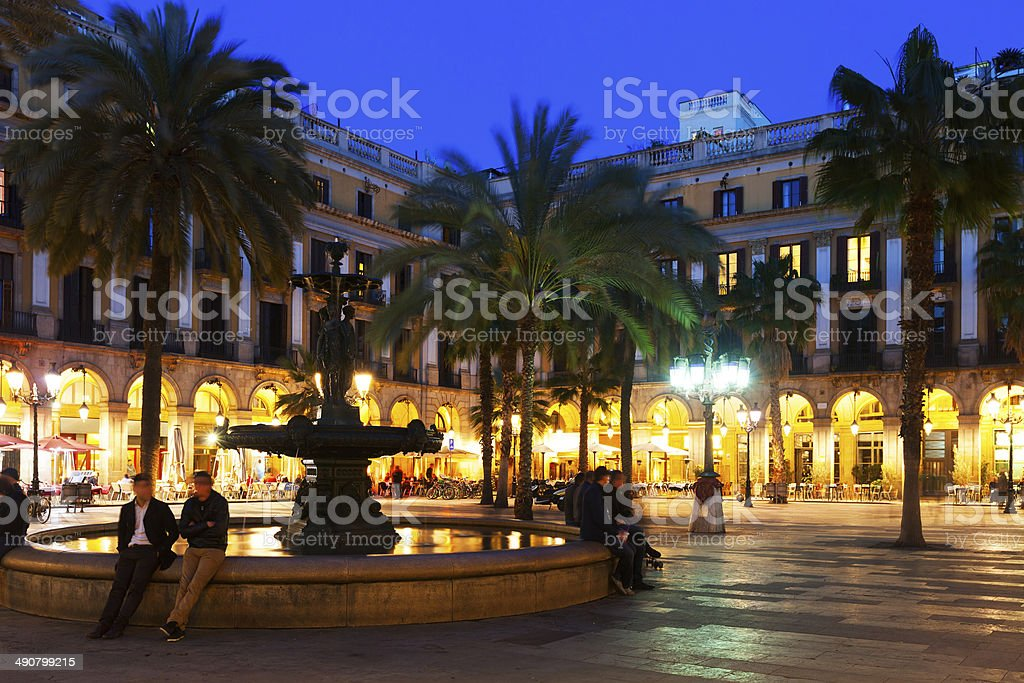 View of Placa Reial in winter evening. Barcelona stock photo