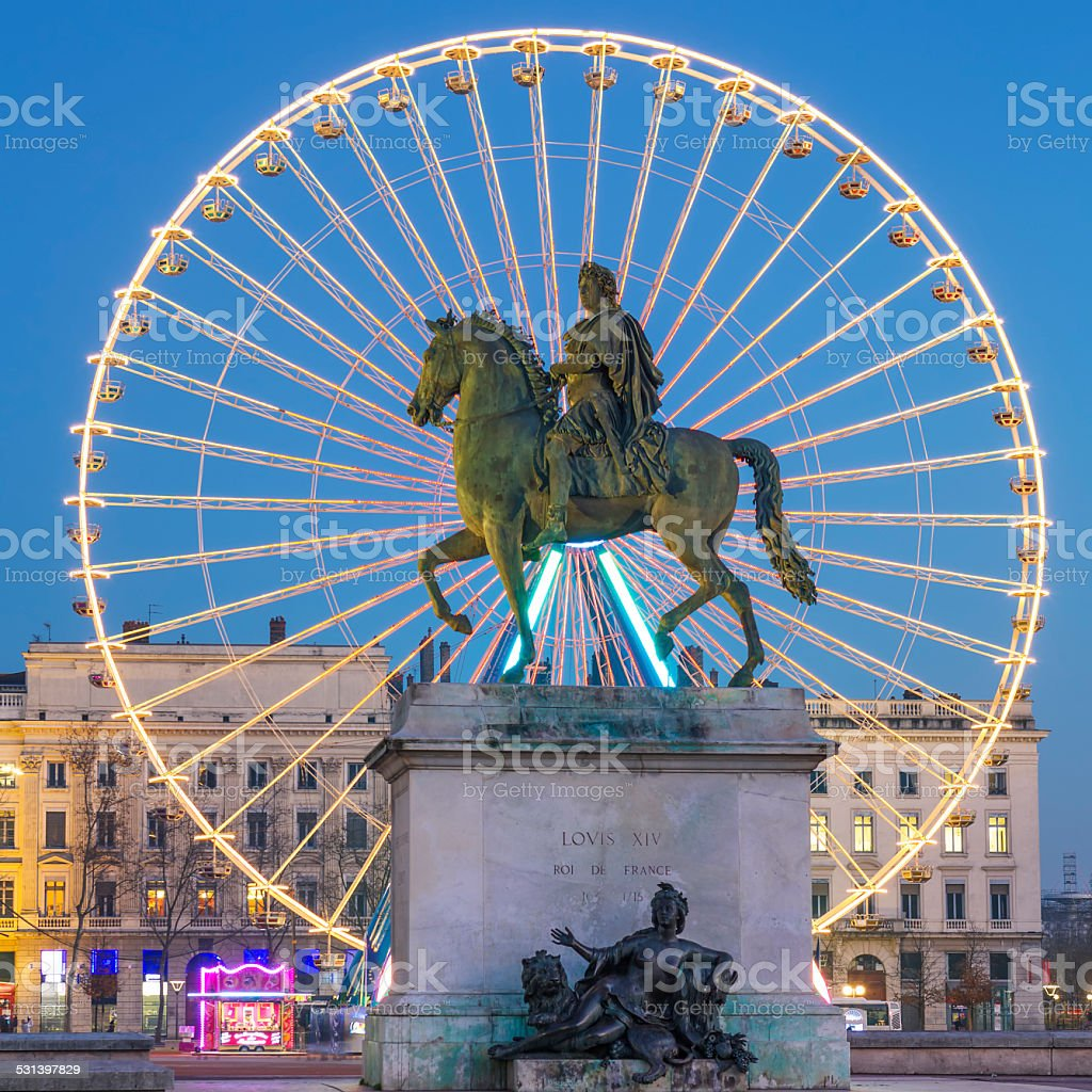View of Place Bellecour by night stock photo