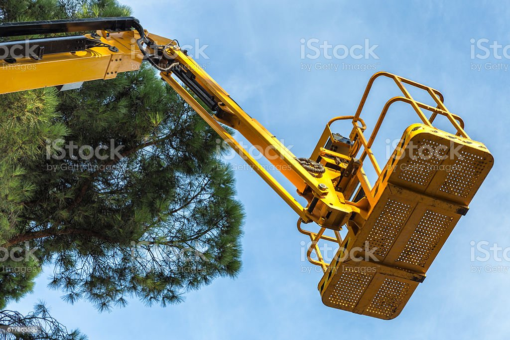 view of platform lift  to prune trees stock photo