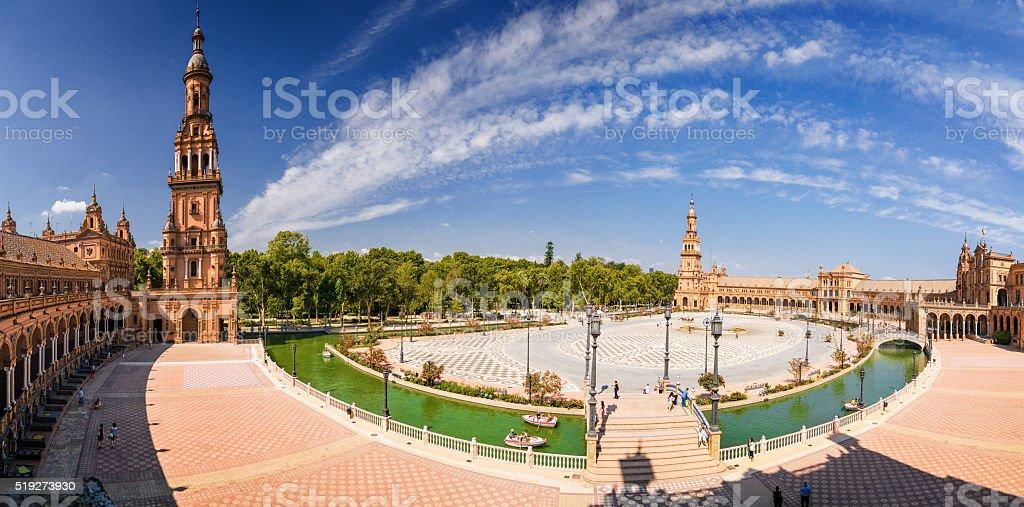 View of Plaza de Espana in Sevilla, Andalusia province, Spain. stock photo