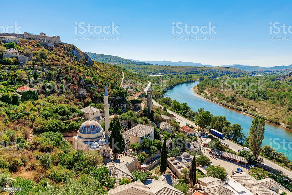 View of Pocitelj town and countryside stock photo