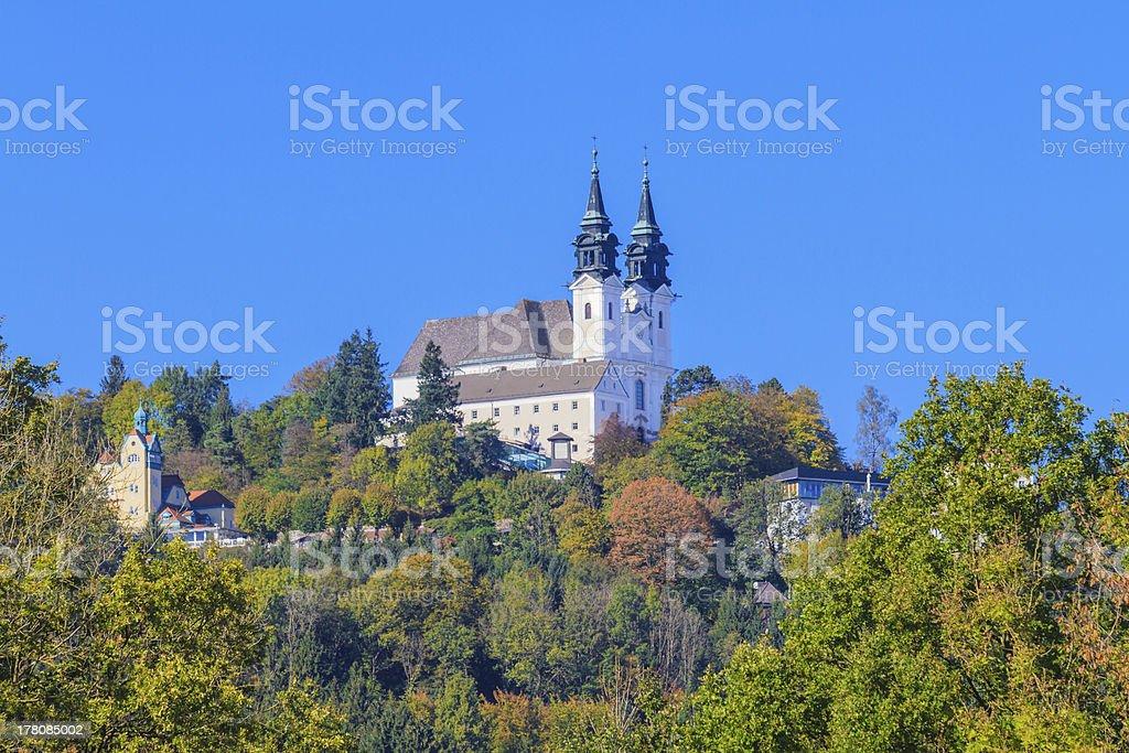 View of Poestlingberg Basilica, Linz, Austria stock photo