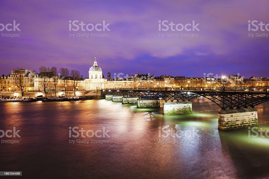 View of Pont des Artes and Seine River, Paris stock photo