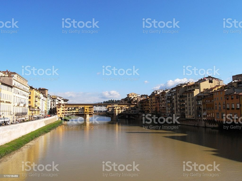 View of Ponte Vecchio and river Arno royalty-free stock photo