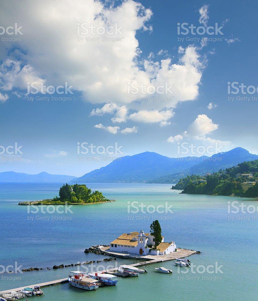 View of Pontikonisi area at Corfu island, Greece royalty-free stock photo