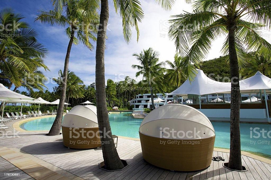 View of pool at Hayman Island resort Queensland Australia royalty-free stock photo