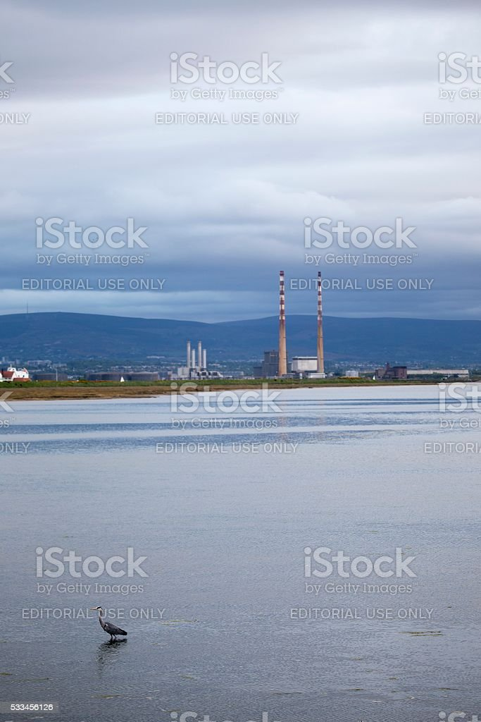 View of Poolbeg Towers from Clontarf stock photo