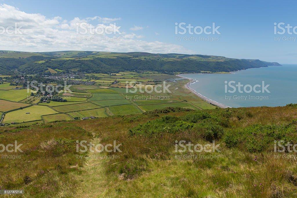 View of Porlock countryside Somerset England uk near Exmoor stock photo