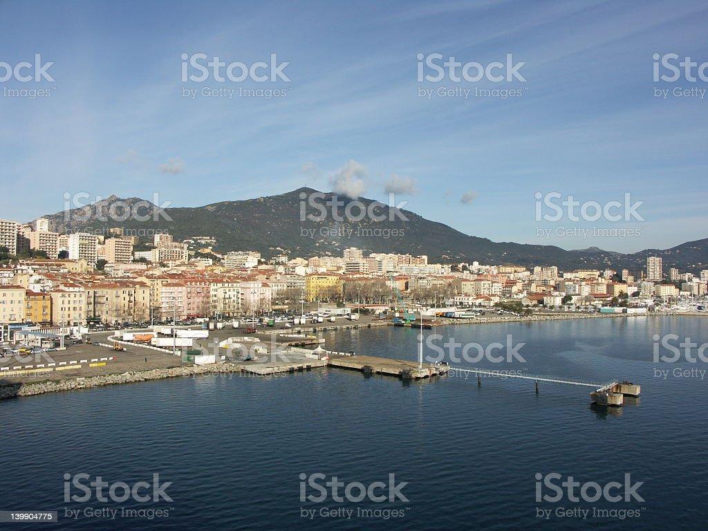View of Port of Ajaccio Corsica stock photo