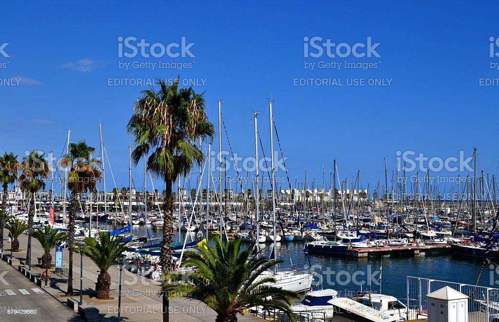 View of Port Olimpic in Barcelona stock photo