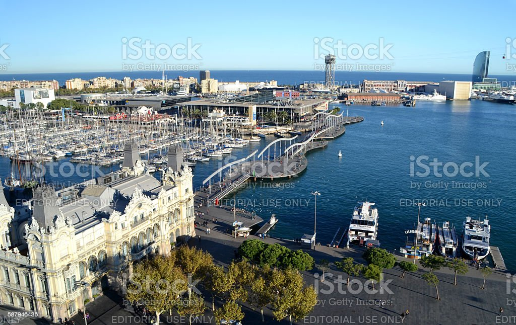 View of Port Vell in Barcelona, Spain stock photo