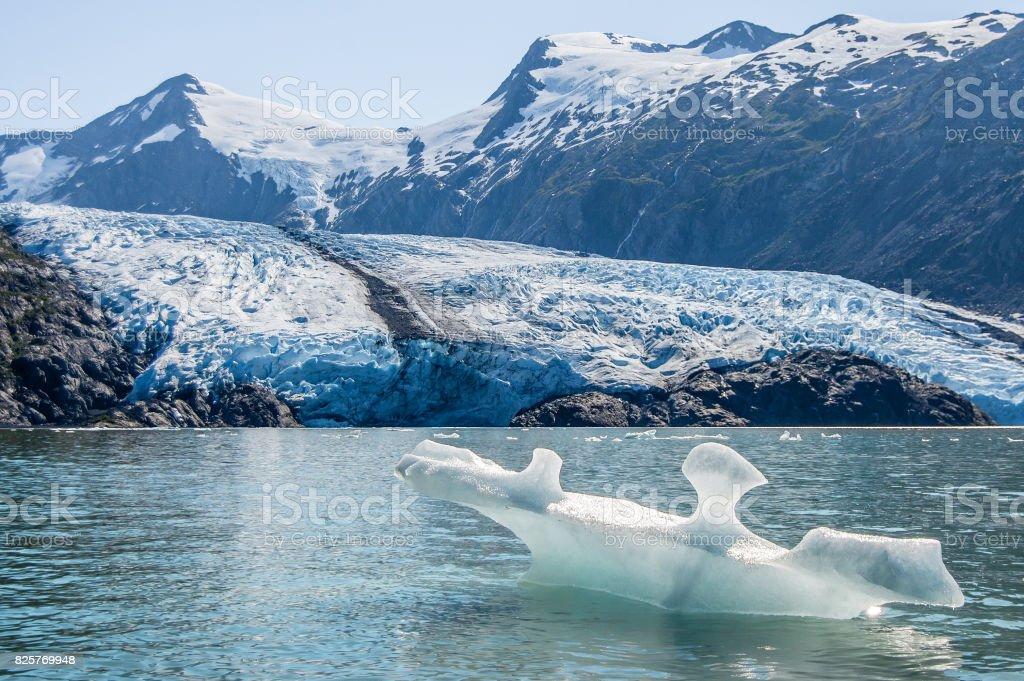 View of Portage glacier and Portage lake stock photo