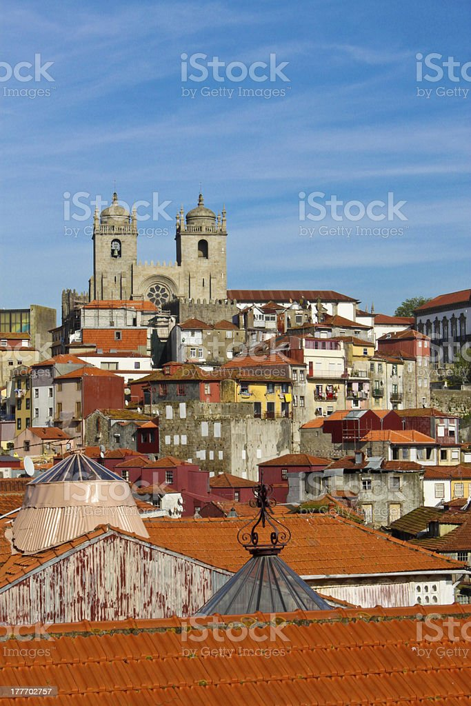 view of Porto cathedral and rooftops royalty-free stock photo