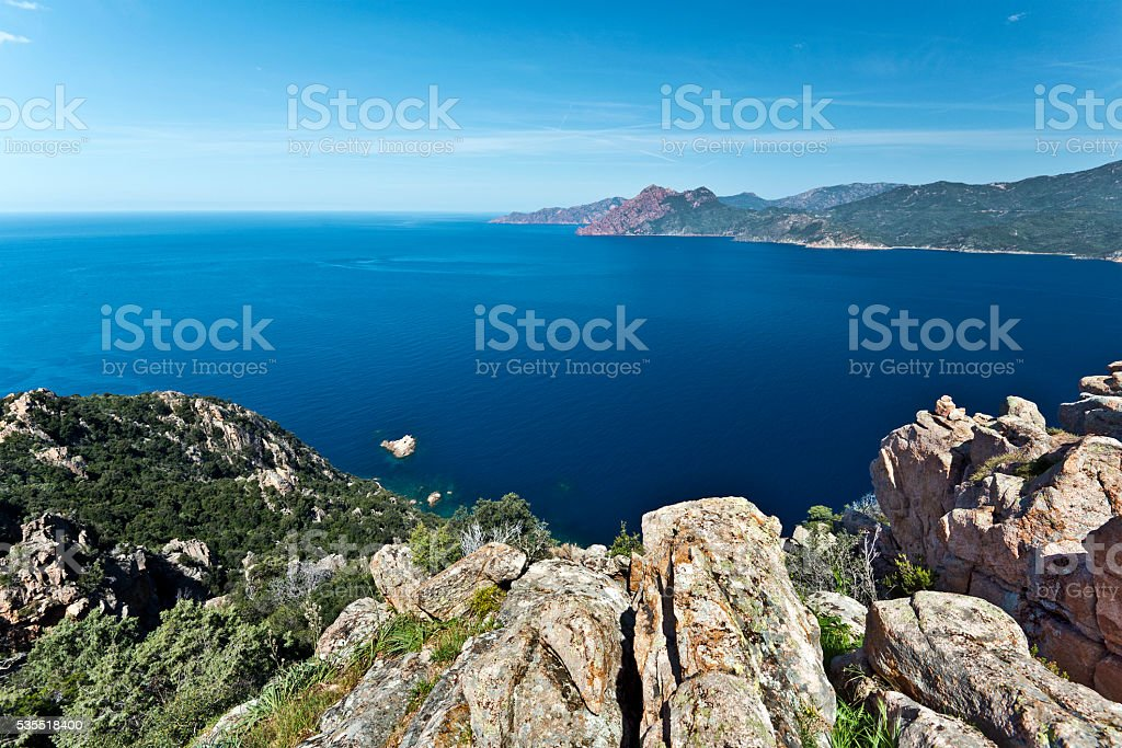 View of Porto Gulf in Corsica from Calanques de Piana stock photo