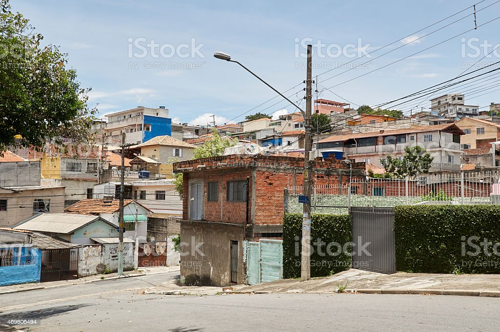 View of poverty in the favela of Sգao Paulo stock photo