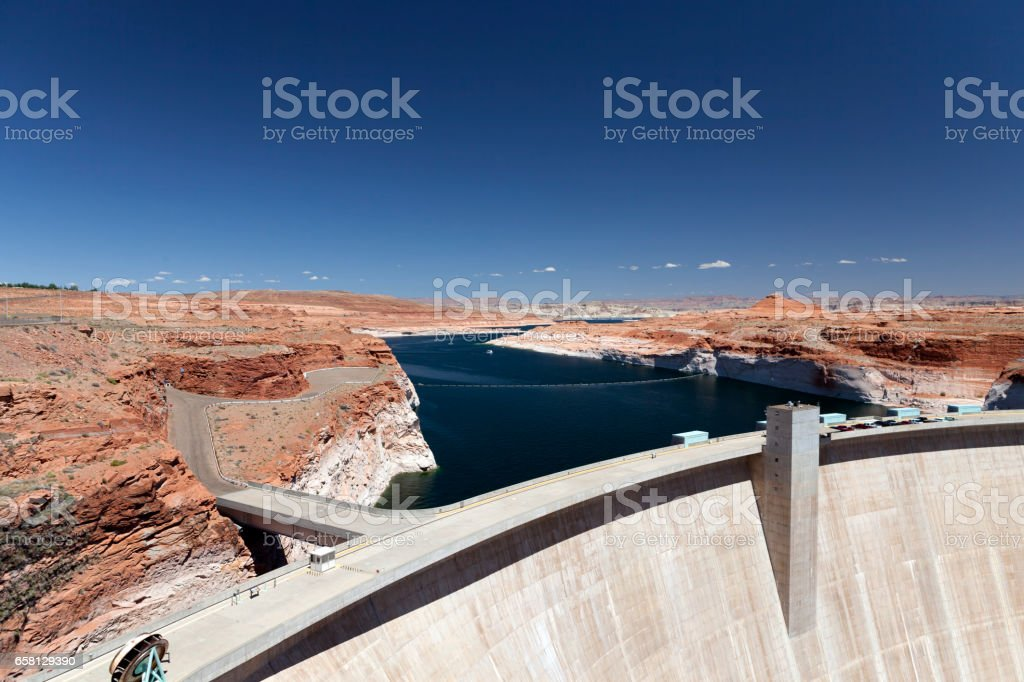 View of Powell Lake Dam on the Colorado River stock photo