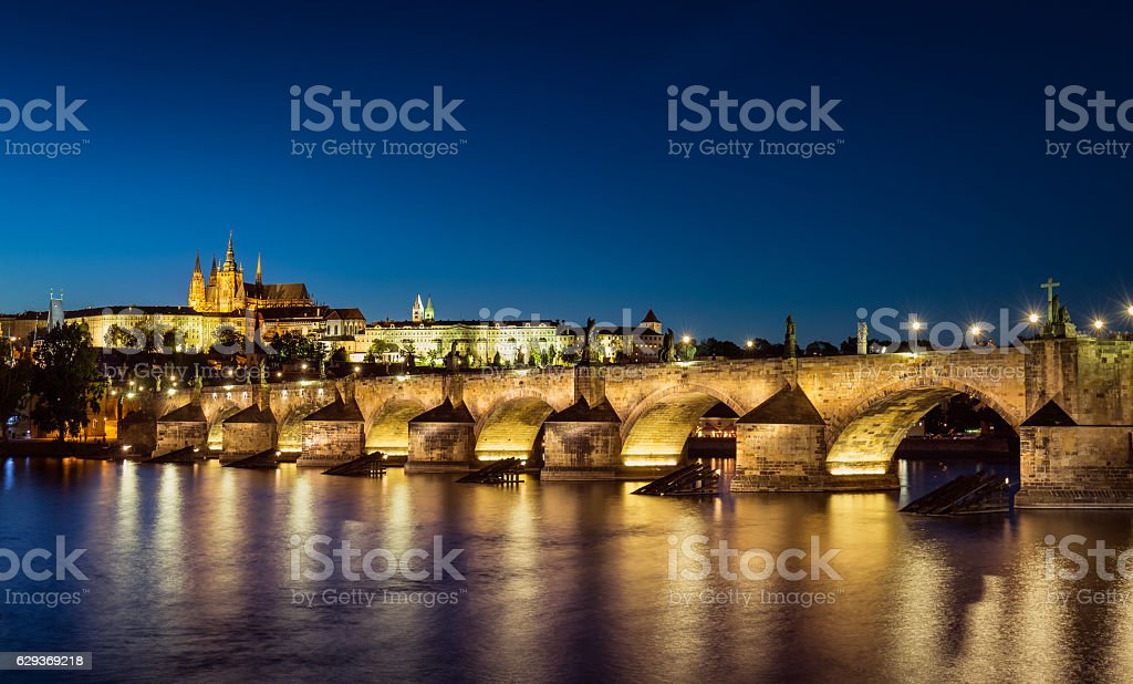 View of Prague castle and Charles Bridge, Prague, Czech Republic stock photo