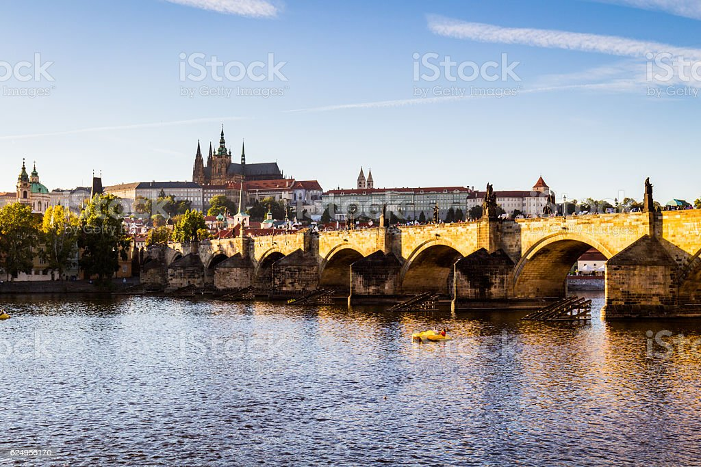View of Prague Castle and Charles Bridge.Czech Republic. stock photo
