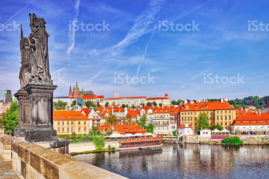 View of Prague Castle from Charles Bridge. stock photo