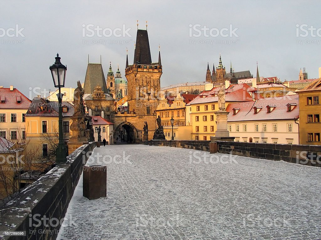 A view of Prague on a snowy day royalty-free stock photo