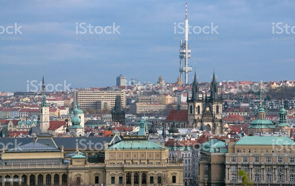 View of Prague's Zizkov district and TV tower stock photo
