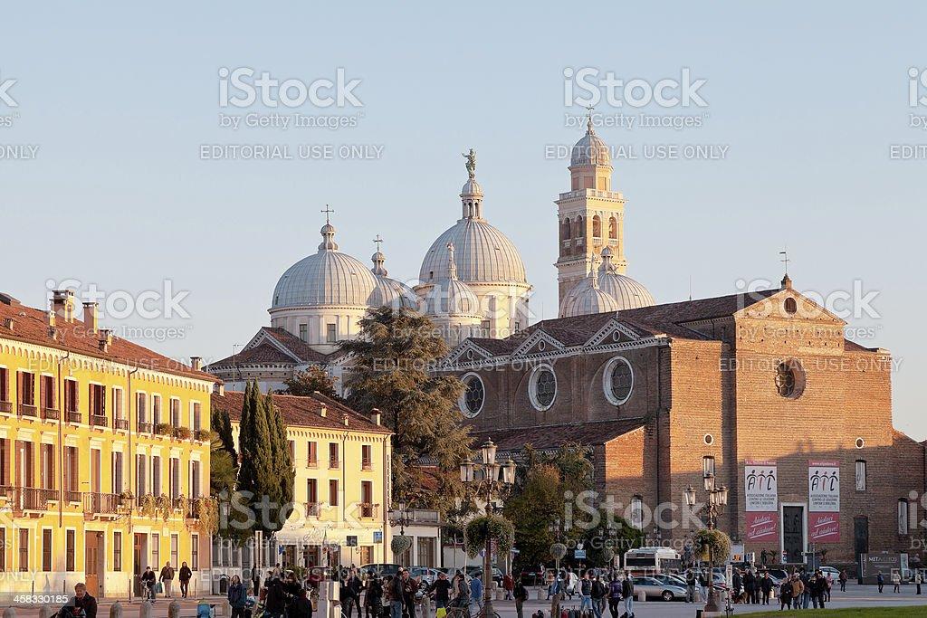 view of Prato della Valle and Basilica S.Giustina in Padua royalty-free stock photo