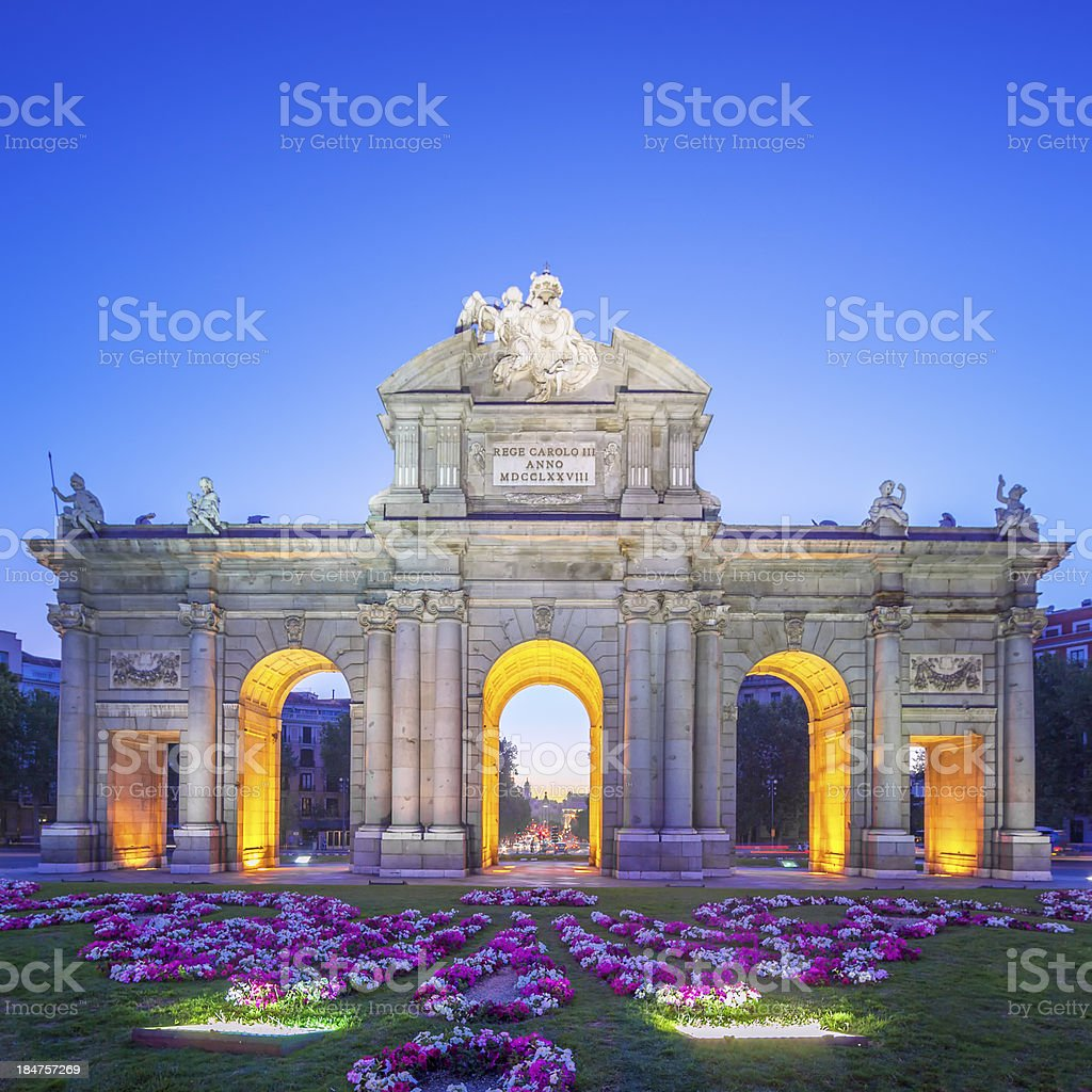 View of Puerta de Alcala at sunset stock photo