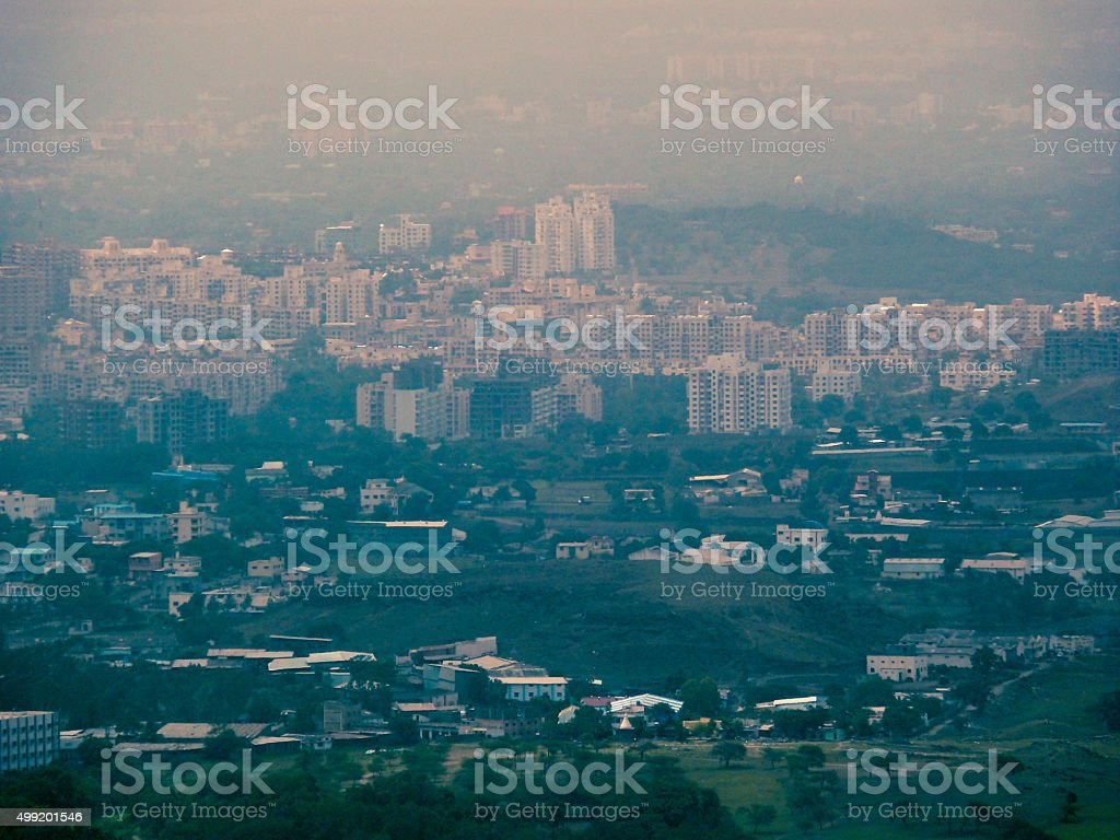 View of Pune city from Bopdev Ghat, Maharashtra, India stock photo