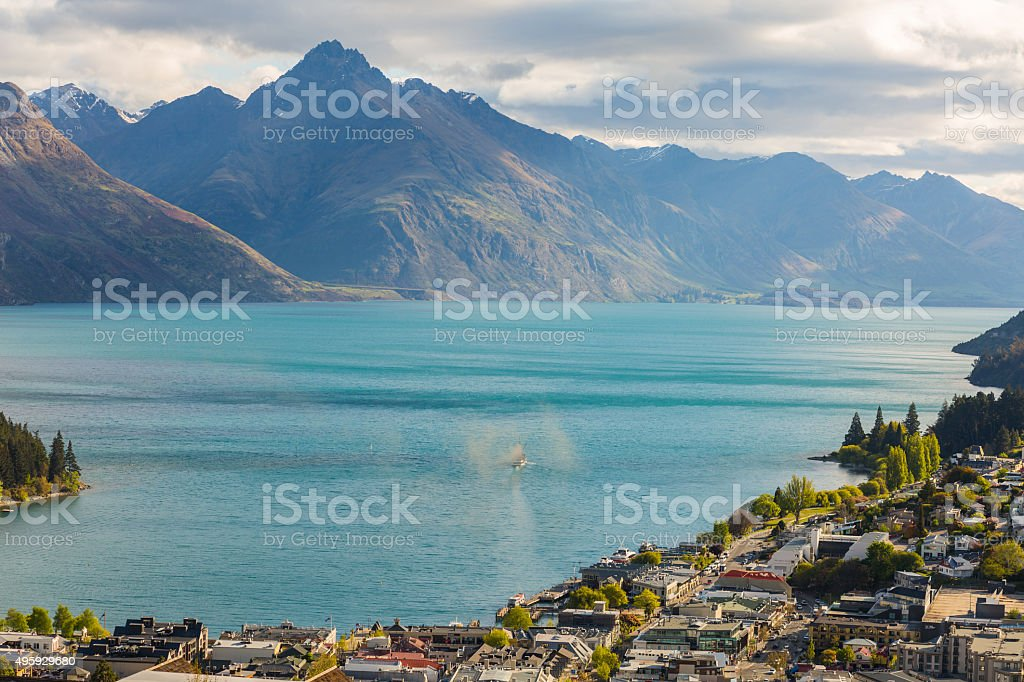 view of Queenstown and Lake Wakatipu stock photo