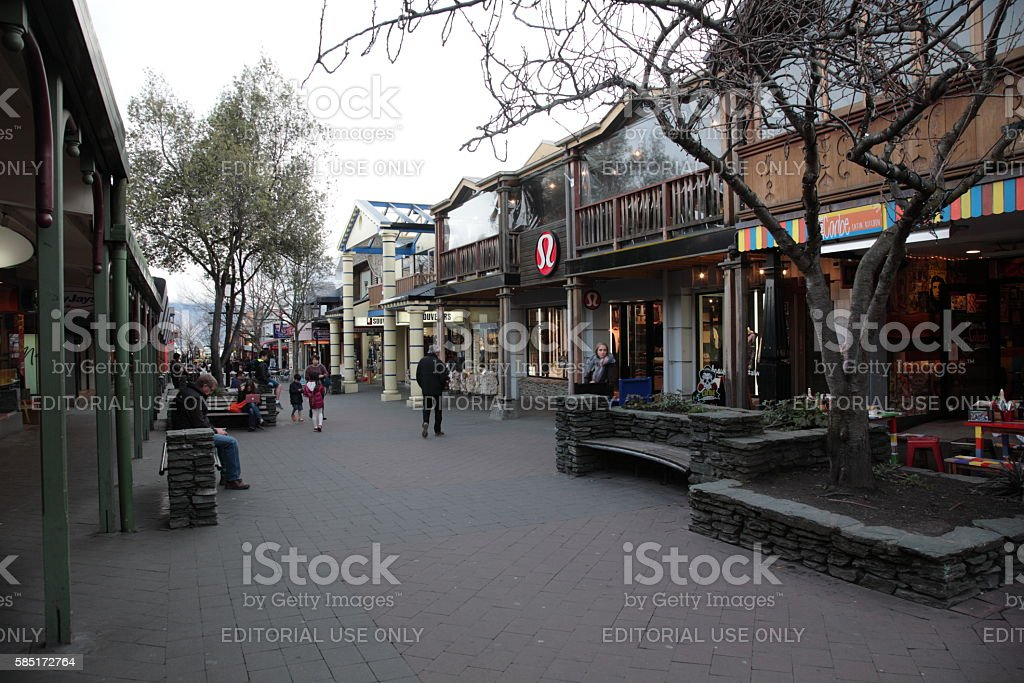 View of Queenstown city center in Winter,New Zealand stock photo