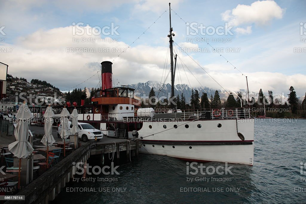 View of Queenstown with the Remarkables New Zealand stock photo
