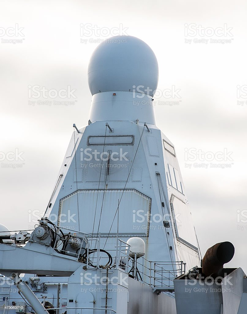 View of radar on naval ship. stock photo