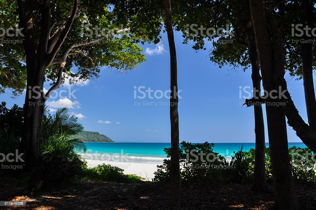 View of Radhanagar Beach on Havelock Island - Andamans, India stock photo