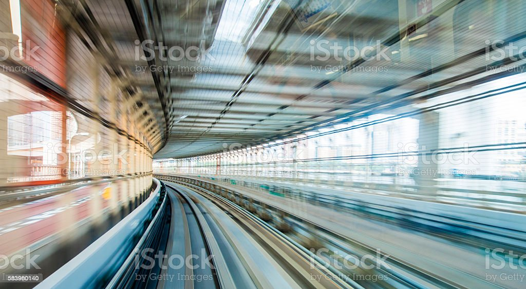 View of railroad tracks from high speed train stock photo