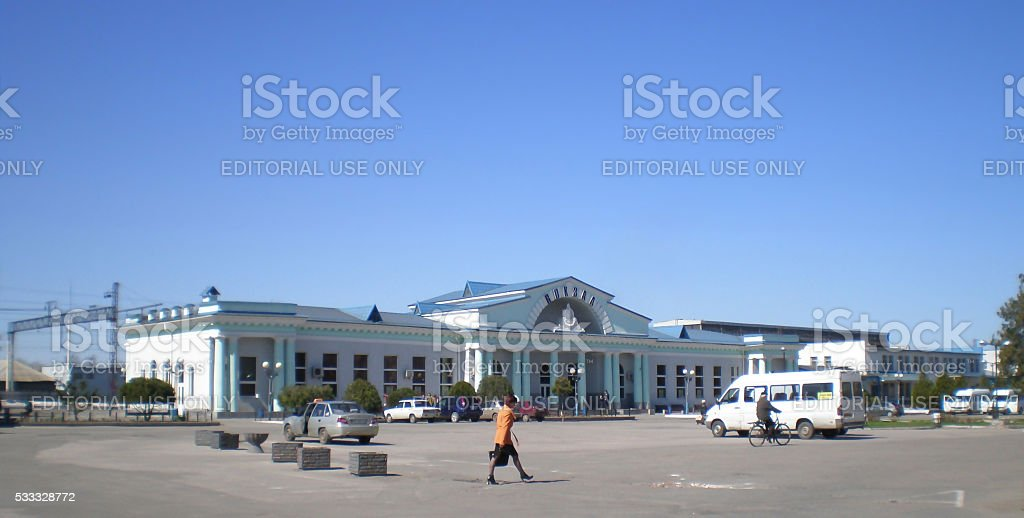 View of Railway Station Square of the city Melitopol stock photo