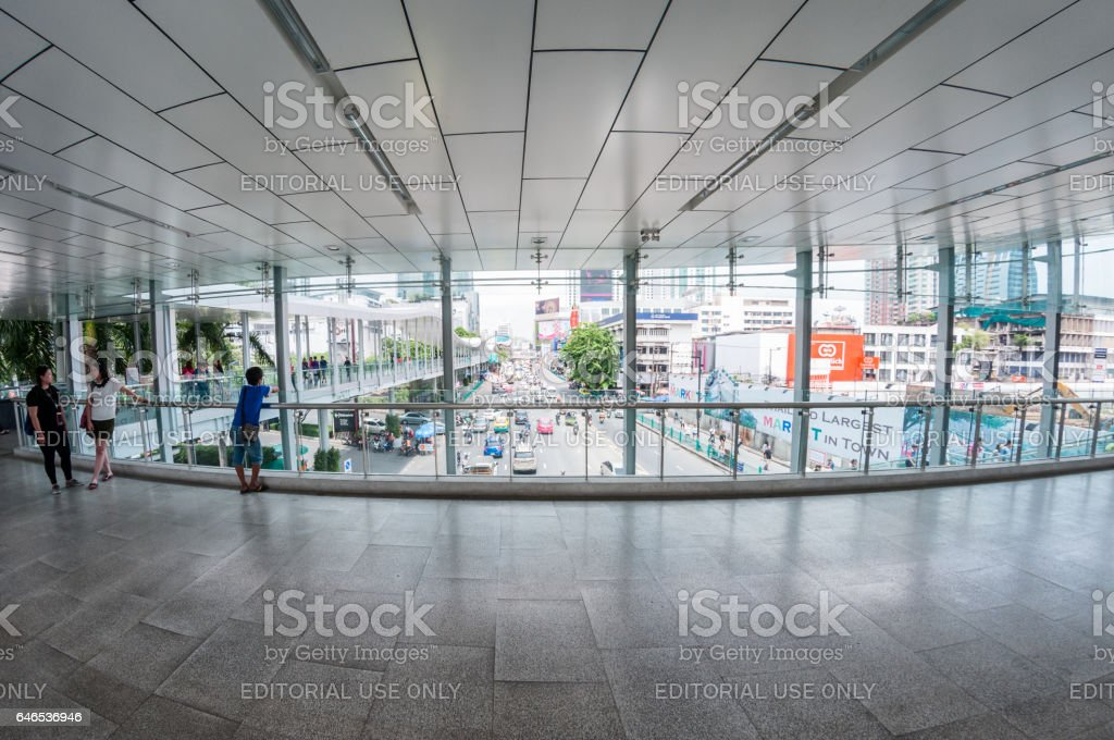 View Of Ratchaprasong From A Foot Bridge stock photo