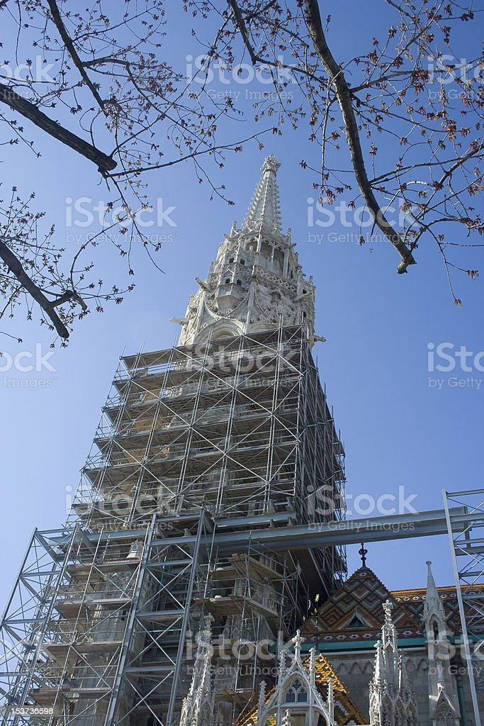 A view of reconstruction works in Mathias Corvinus stock photo