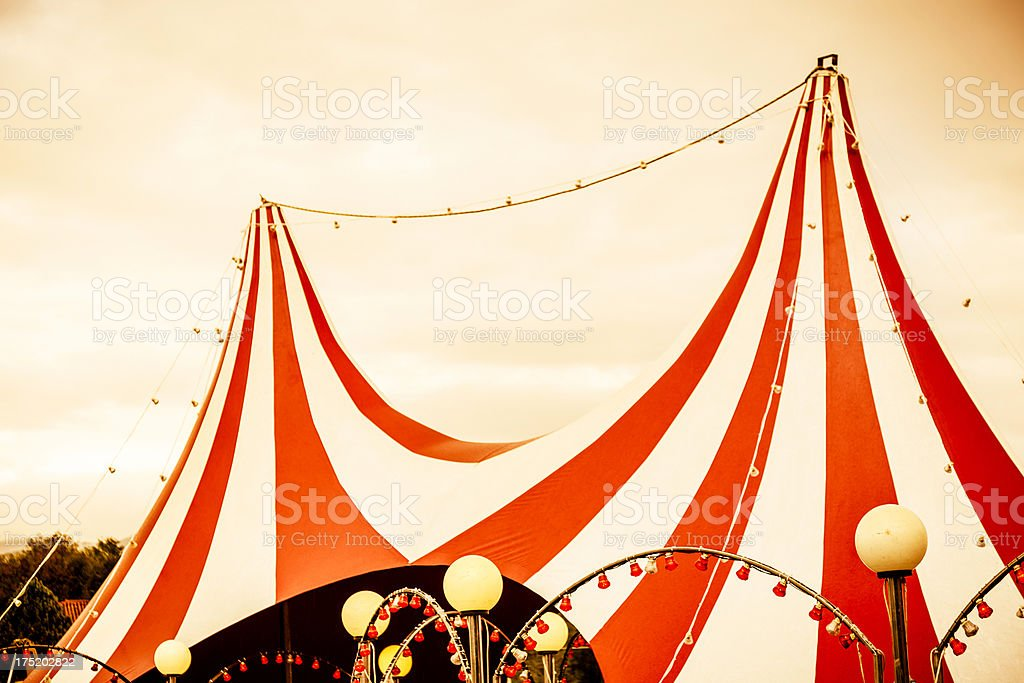 View of red and white striped circus tent top  stock photo