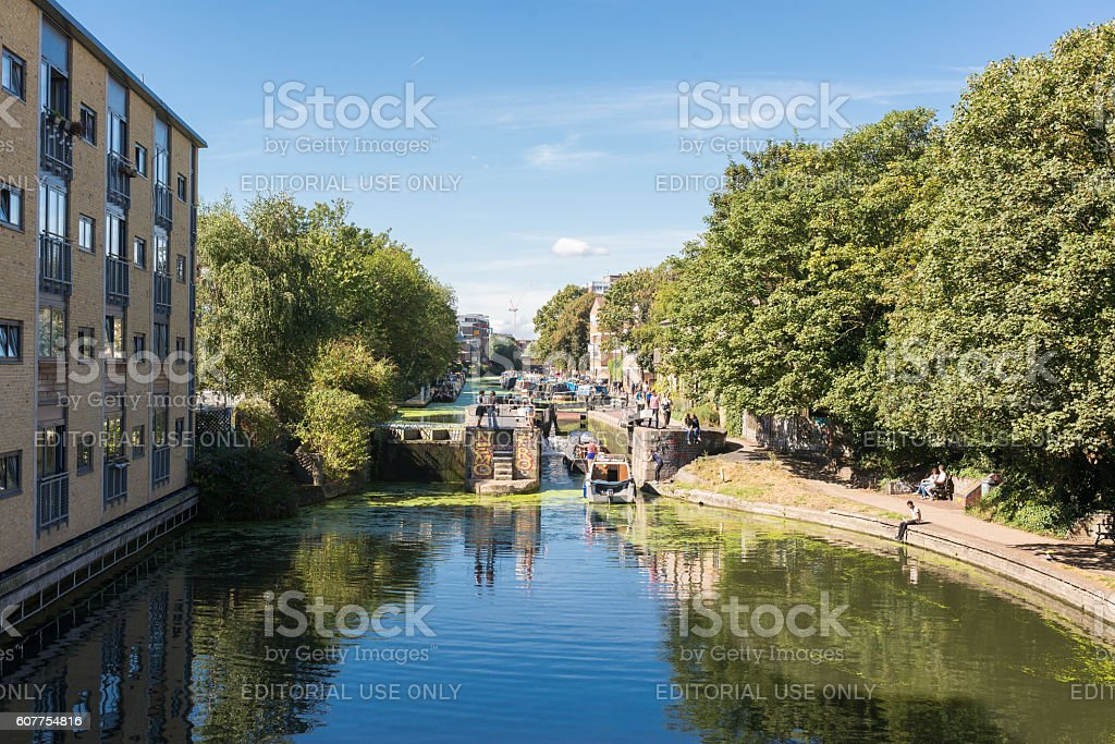 View of Regent's canal in Hackney East London stock photo