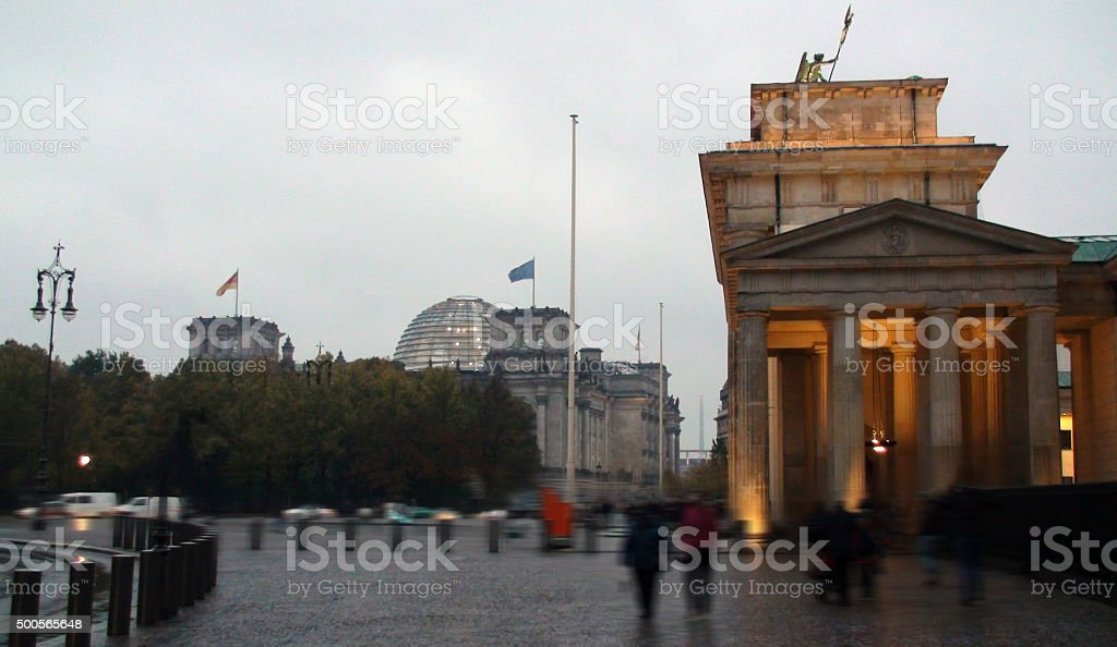 View Of Reichstag Building And Brandenburg Gate In Berlin Germany stock photo