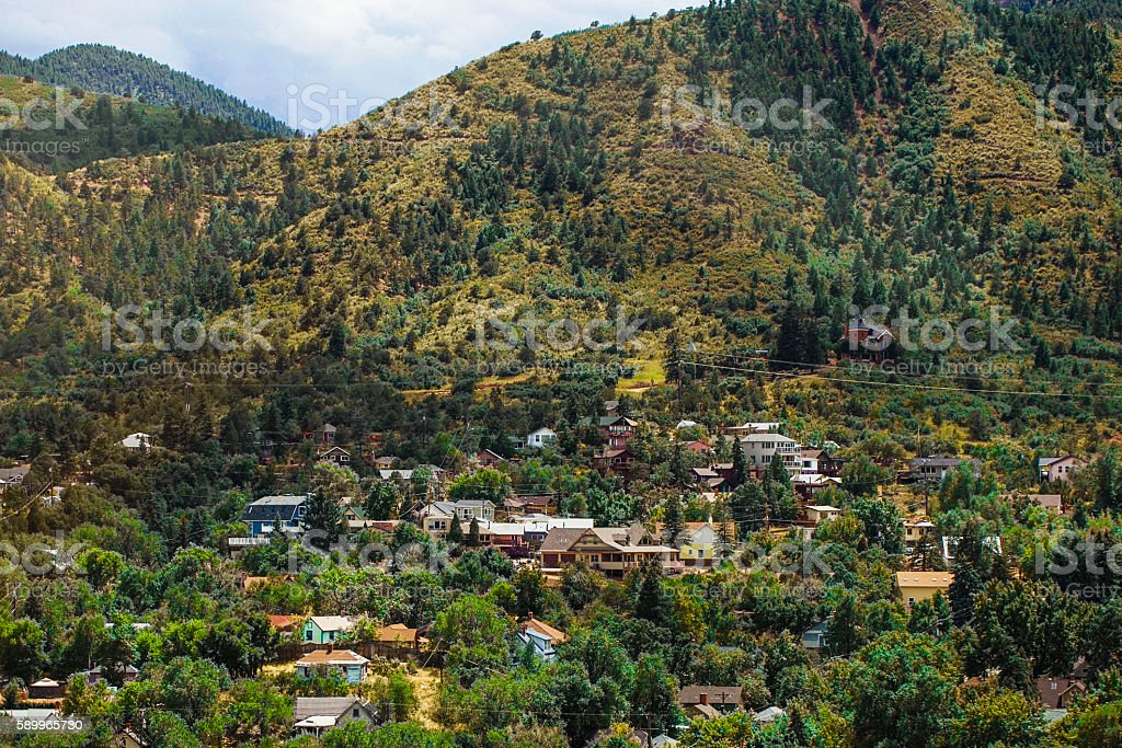 View of residential area in Manitou Springs, Colorado stock photo