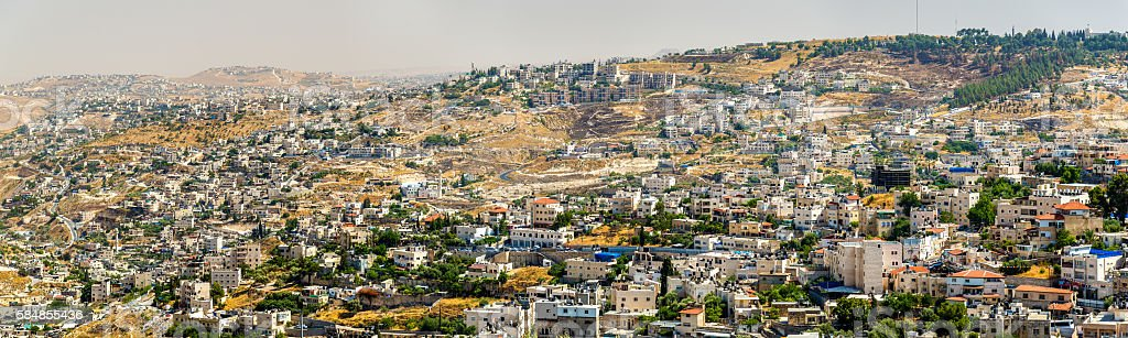 View of residential districts in Jerusalem stock photo