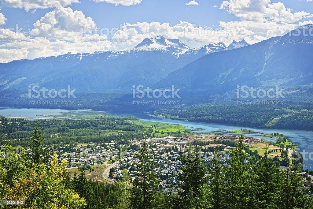 View of Revelstoke in British Columbia, Canada stock photo