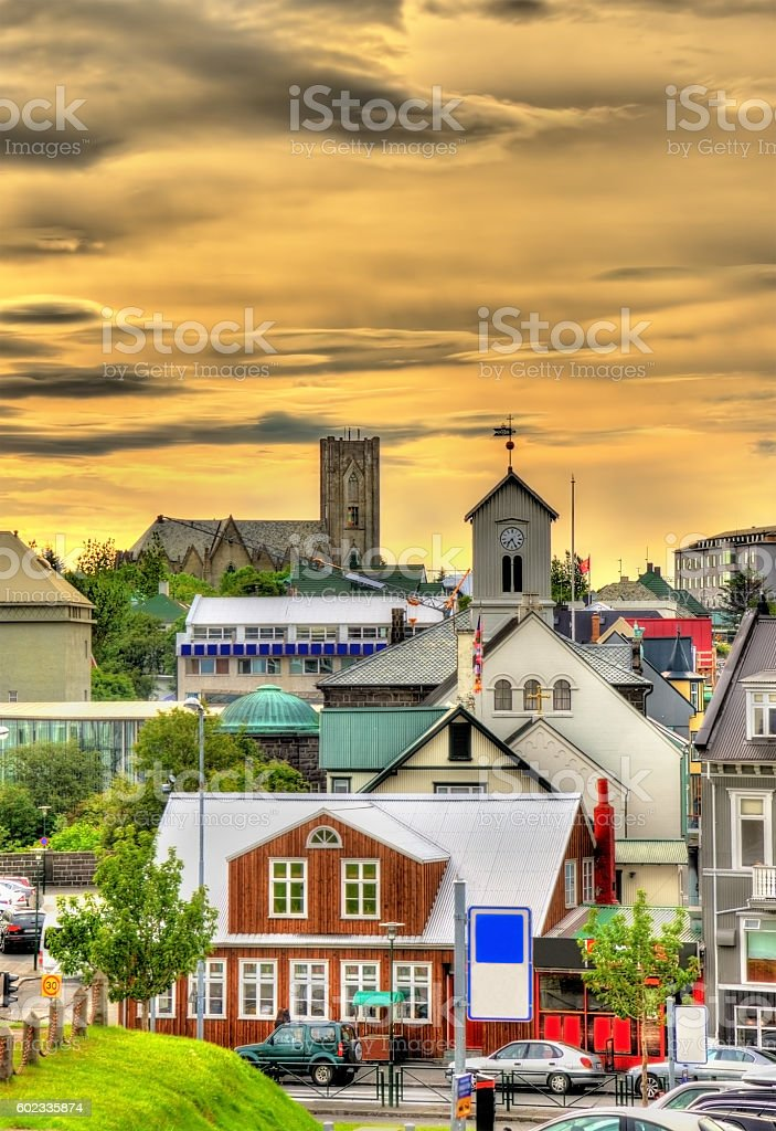 View of Reykjavik city centre in the evening stock photo