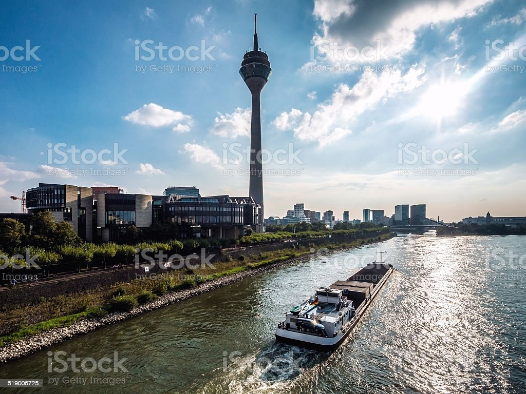 View of Rhine Tower and Media Harbor stock photo