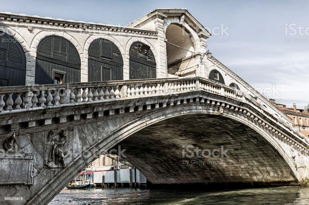 View of Rialto Bridge in Venice at day stock photo