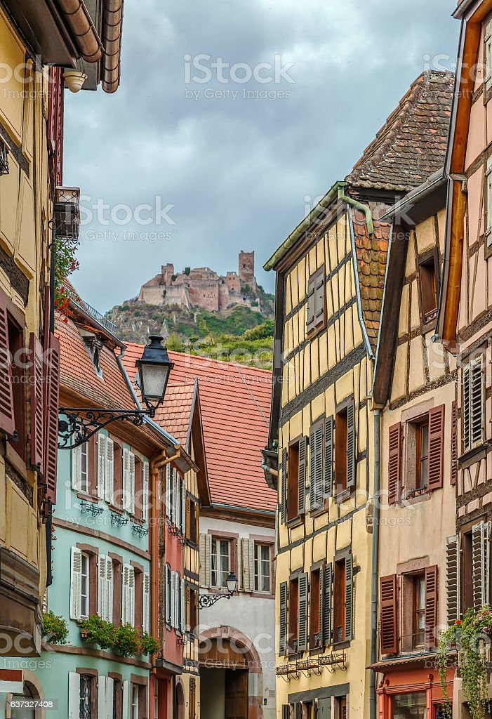 view of Ribeauville with castle, France stock photo