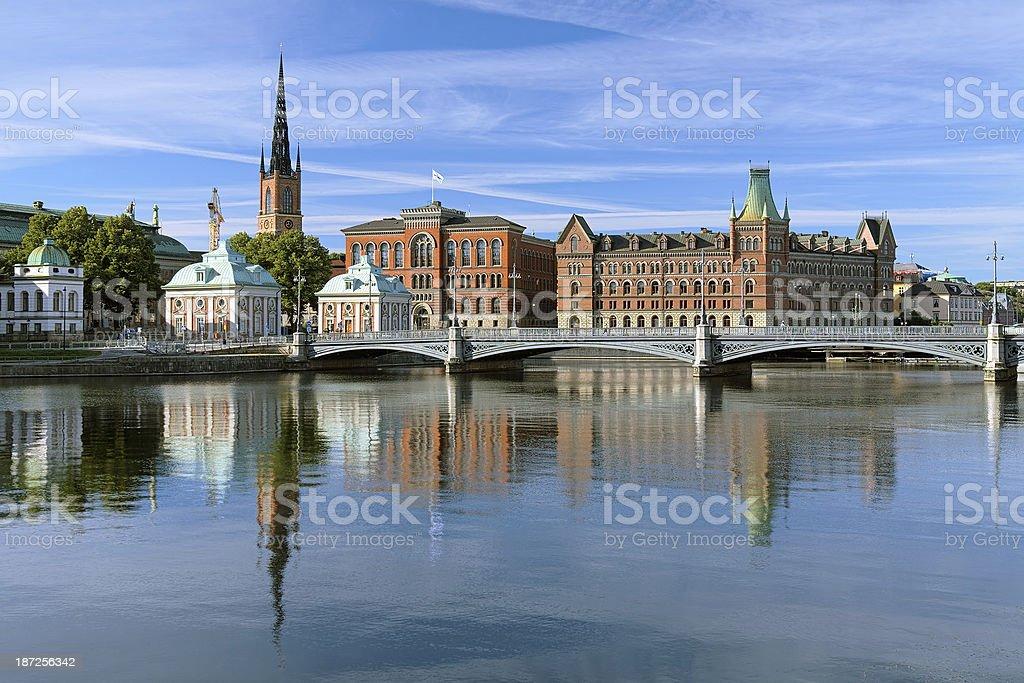 View of Riddarholmen island in Stockholm, Sweden stock photo