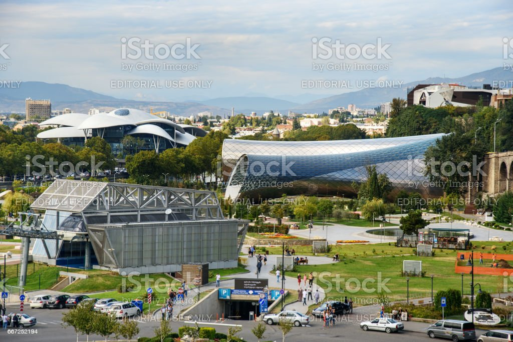 View of Rike Park with Public Service Hall in Tbilisi, Georgia stock photo