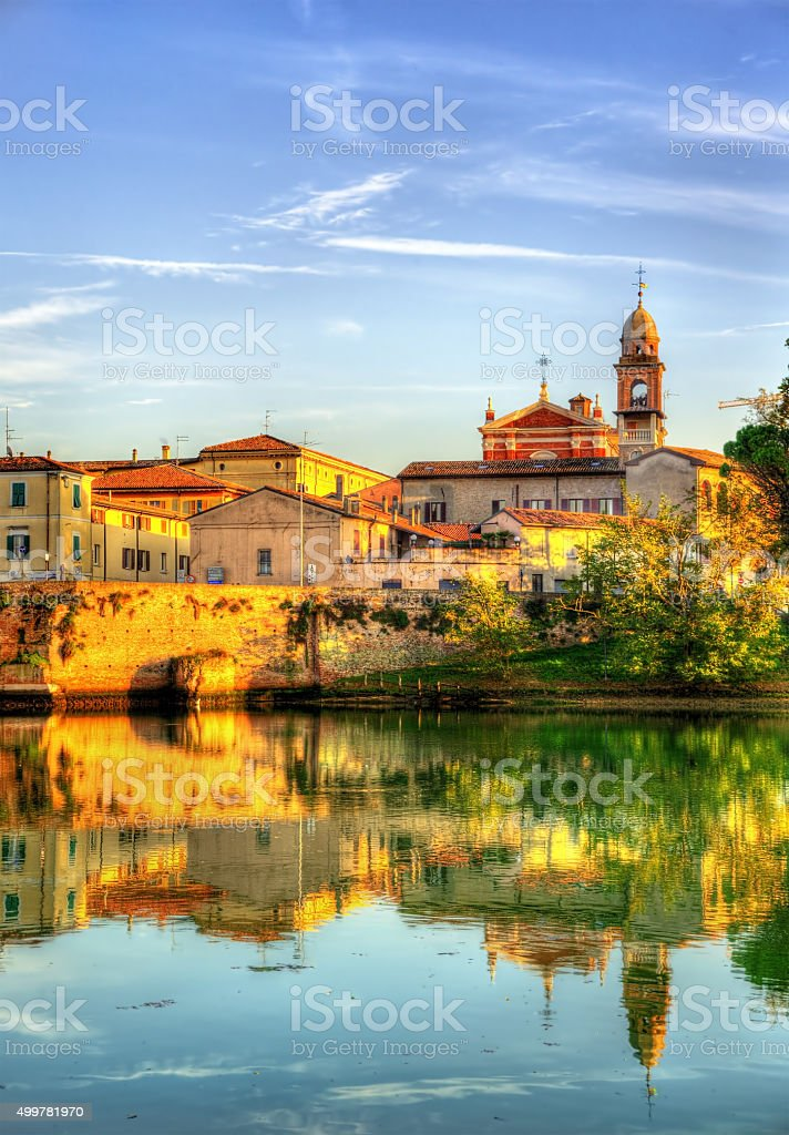 View of Rimini above a lake - Italy stock photo